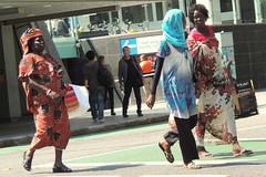 street scene (Grenzeloos1 - thanks for 5 million+ views!) Tags: city people walking spring african brisbane queensland colourful 2013