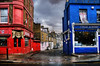 Red, Blue & Wet (Dimmilan) Tags: street door uk windows red england sky urban house building london wet shop architecture clouds cityscape bollard oldarchitecture slicesoftime blinkagain galleryoffantasticshots