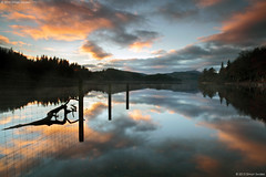 Loch Ard / p ol (SwaloPhoto) Tags: trees sunset clouds fence reflections scotland nationalpark availablelight silhouettes milton benlomond lochlomond lochs ze stirlingshire aberfoyle thetrossachs lochard thehighlands lochardforest leefilters canoneos5dmkii distagont2821 distagon2128ze