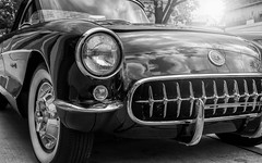 Corvette (Darren LoPrinzi) Tags: auto blackandwhite bw classic chevrolet monochrome car wheel closeup canon mono blackwhite newjersey automobile nj headlights grill chevy bumper vehicle headlight corvette whitewall sportscar trasportation canoneos7d canon7d