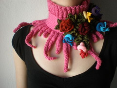 Elan ... knitted scarflette - fuchsia pink neck warmer with yellow, purple, blue, red, colorful crochet flowers (irregular expressions) Tags: pink blue red hot flower green art floral scarf neck leaf knitting colorful aqua purple candy cardinal handmade turquoise burgundy maroon unique crochet expressions magenta olive violet fuchsia indigo lavender plum bamboo yarn lilac button statement cashmere knitted wearable fiber cerise warmer neckwarmer irregular freeform flowery neckpiece neckwear woolyarn tsy scarflette cottonfiber irregularexpressions bamboofiber cashmereyarn acrylicfiber knittedscarflette