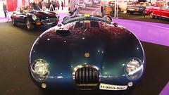 Jaguar C-Type y E-Type (al fondo). Dos maravillas para deleitarse en el Palacio de Cristal de Madrid.