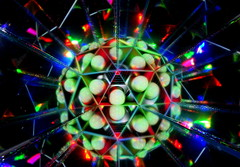Collision (Andy Coe) Tags: light abstract art reflections painting lights colours sony mirrors balls kaleidoscope sphere alpha rgb a77