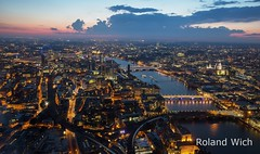 London - View from the Shard (Rolandito.) Tags: uk light england london thames night river observation lights twilight britain dusk united great platform kingdom deck gb shard viewing nightfall themse twilught