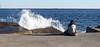 1, 2, 3... splash! (Aviones Plateados) Tags: barcelona beach waves playa olas breakwater poblenou rompeolas espigón lamanoamiga