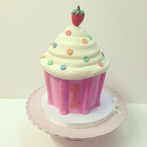 Superb Giant Cupcake Birthday Cake Polkadotscupcakefactory A Photo On Funny Birthday Cards Online Necthendildamsfinfo