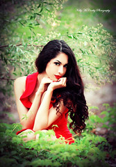 Too Bold To Be Coy (Kelly McCarthy Photography) Tags: red woman nature beautiful beauty fashion pose outdoors model bokeh makeup brunette elegant reddress elegance catchycolorsred mybrowneyedgirl bokehwhores
