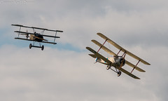 Fokker DR 1 and Nieuport 17 triplanes (kimbenson45) Tags: flying aircraft aviation military wwi airplanes flight formation airshow worldwari ww1 dogfight props propellors fokkerdr1 nieuport17 greatwardisplayteam triplanes gwdt frenchairservice firstworldwarcentenary wingswheelsdunsfold2014