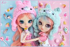 Cotton Candy Twins!! (Suki) Tags: pink blue cute alpaca hat candy twin kawaii pullip pullips pullipcustom yuzuchan