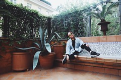 Hotel Balcony (rassspy) Tags: travel blue light cactus people plants brown plant rome roma green face sunglasses hotel daylight natural balcony tan denim marble cactuses neutral