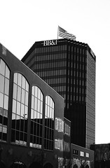 Evening Reflection (RansomedNBlood) Tags: city shadow bw 35mm blackwhite charleston wv westvirginia sears1000mxb filmphotographyproject filmphotographyprojectstore eastman2366