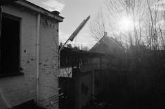 Engelsesteenweg, Doel, OVL (Jickatrap) Tags: blackandwhite film architecture analog 35mm pentax suburbia   urbanlandscape delta400  doel pentaxmz50 bwfilm filmphotography    ilforddelta     newtopographics    photographersontumblr