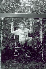 Christian on the swing (Stephen Hilton) Tags: bw blackwhite fp4 canonetgiiiql17