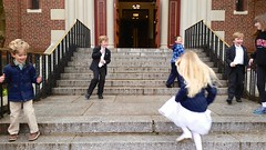 Playing On The Church Steps After Mass (Joe Shlabotnik) Tags: cameraphone violet sophia everett 2016 adamm michaelm galaxys5 may2016