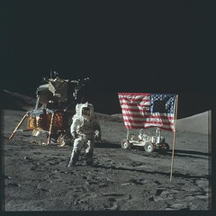 Astronaut Jack Schmitt poses with the American flag while on EVA during the Apollo 17 mission. December 12, 1972 [OS] [4175x4175] #HistoryPorn #history #retro http://ift.tt/1s399KF (Histolines) Tags: history jack during eva december with flag astronaut os retro american mission timeline 17 while 12 1972 apollo poses schmitt vinatage historyporn histolines 4175x4175 httpifttt1s399kf