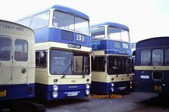 Pennine Blue 7093 (WBN 971L), 7901 (WVM 901S) (SelmerOrSelnec) Tags: bus leyland parkroyal gmt selnec atlantean dukinfield pennineblue wvm901s wbn971l
