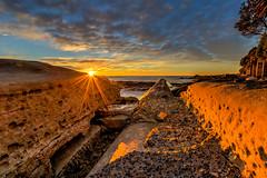 Sunrise Cronulla Point Sydney (600tom) Tags: ocean blue trees sea orange sun beach water clouds sunrise rocks shadows sydney vivid australia brackets flair cronulla