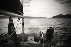 Farewell Mull.... (Dafydd Penguin) Tags: mull cruising sailboat sail yacht davits tender avon boat vessel black white blackwhite blackandwhite bw monochrome scotlnad west coast coastal sea nikon d600 nikkor 35mm af f2d