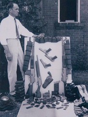 The arsenal found in the trunk of Bonnie Parker and Clyde Barrows car upon being shot to death by Texas & Louisiana state police officers (1934) [1128 x 1486] #HistoryPorn #history #retro http://ift.tt/1RpQNYD (Histolines) Tags: history car by found death clyde louisiana texas shot state being police x retro trunk bonnie timeline arsenal 1934 parker upon 1128 the officers barrows vinatage 1486 historyporn histolines httpifttt1rpqnyd