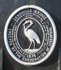 Plaque on Sandhills Lane canal bridge (White Pass1) Tags: liverpool leedsliverpoolcanal canalbridge castironbridge sandhillslane 18162016 castitonplaque