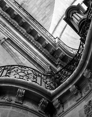 balconies organs and archways mono (PDKImages) Tags: old windows france church monochrome beauty abbey architecture ginger curves bordeaux shutters balconies stemillion brantome