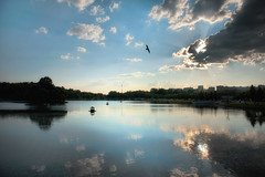 House on the water (Varvara_R) Tags: blue sunset sky lake weather clouds reflections geotagged evening spring nikon russia moscow nikkor