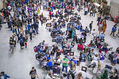 20160530_F0001: There is a powerful Jedi in the crowd (wfxue) Tags: people london miniature costume purple chairs cosplay candid crowd event illusion tables jedi lightsaber comiccon excel macewindu tiltshift