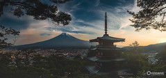 One Moment Alone with Mount Fuji (Morgan Kinkel) Tags: city blue trees light red sky orange plants sun sunlight mountain snow green art nature yellow japan clouds forest dark temple evening pagoda high shrine asia fuji view outdoor dusk cyan calm nippon shinto 2016 canoneos6d  artoverdrive morgankinkel