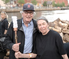 Guest Lighters looking ready to light! (waterfireprov) Tags: torch woodboat guestlighters bankofamericalighting