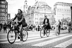 Line up ... (Alan Dreamworks) Tags: street leica blackandwhite netherlands monochrome bike cyclist streetphotography f1 getty noctilux bnw leicam