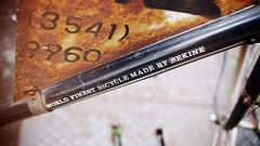 """World finest bicycle made by Sekine"" (Eric Flexyourhead (shoulder injury, slow)) Tags: street city urban detail bike bicycle sign japan japanese tokyo rust bokeh decay rusty frame tsukiji   rusting 169  chuo jitensha fragment shallowdepthoffield chuoku   sekine  charinko panasoniclumix20mmf17 olympusem5"