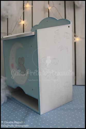 """Fraldário, caixa de recordações de bebé e placa porta """"Bons Sonhos"""""""