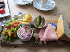 Torre Abbey Ham Ploughmans 6.95 South Devon (Bridgemarker Tim) Tags: food cheese ham pickles coleslaw gherkins ploughmans torrwabbey