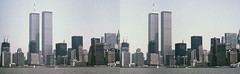 WTC under construction, New York 1984 (cobravictor) Tags: sitebuilding constructionsite crossview 3d 3dstereo stereoscopic stereopair lowermanhattan downtownmanhattan skyline skyscrapers hudsonriver newyorkcity nyc ny 1984