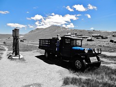 running on empty....(HTT) (BillsExplorations) Tags: california statepark old blue abandoned truck vintage dodge ghosttown bodie selectivecolor htt dodgetruck nationalregisterofhistoricplaces dodgegraham truckthursday