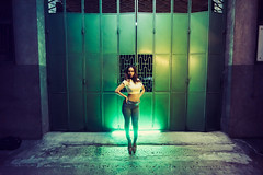 Boss Pose (Jon Siegel) Tags: city people woman night evening model nikon singapore iron industrial factory glow bladerunner modeling gates steel illumination dana warehouse emerald malay luminance singaporean 14mm samyang d810