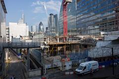 New view (Spannarama) Tags: uk london stairs crane demolition barbican stairway van constructionsite gherkin buildingsite tower42 moorlane highwalk