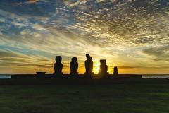 Sunset on the Ahu (Rice Bear) Tags: chile blue sky clouds gold platform moai easterisland cl rapanui ahu hangaroa regindevalparaso ahutahai
