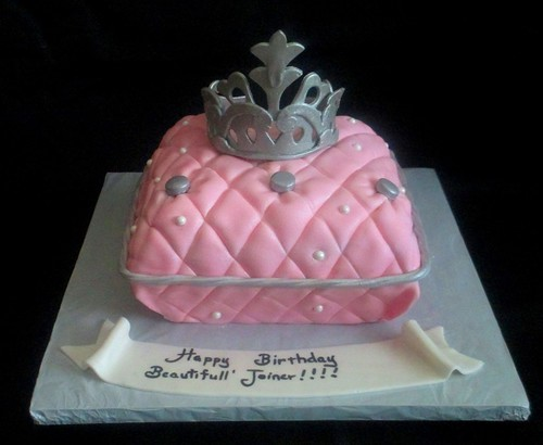 Pink Pillow Princess Crown Fondant Cake