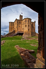 Warkworth Castle (Alan Todd's Photostream) Tags: uk summer england castle english heritage history castles composition site sony perspective battle historic northumberland alpha 16mm foreground warkworth nex leadinglines 5n