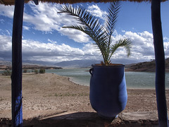 Morocco landscape near lake Lac Takerkoust (BenDem) Tags: africa city travel blue trees summer vacation sky panorama cloud mountain lake holiday mountains tree tourism sahara nature water beautiful rock landscape coast countryside scenery desert natural path north peaceful dry sunny hills morocco berber shore valley maroc heat atlas environment marrakesh moroccan