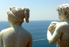 Praiano statues (Anne Sheridan Ireland) Tags: sea italy statue speedboat amalfi praiano