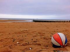 Beach Ball (Rick Ellerman) Tags: uk greatbritain blue red sea white abandoned beach water ball bay scotland sand aberdeenshire album cd picasa aberdeen cover finepix record albumcover cdcover dslr beachball aberdeenharbour recordcover fujifim hs30 hs30exr