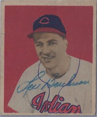 1949 Bowman - Lou Boudreau #11 (Shortstop / Manager) - Hall of Fame 1970 - (b: 17 Jul 1917 - d: 10 Aug 2001 at age 84) - Autographed Baseball Card (Cleveland Indians) (Baseball Autographs Football Coins) Tags: vintage baseball autograph card 1949 bowman signed autographed