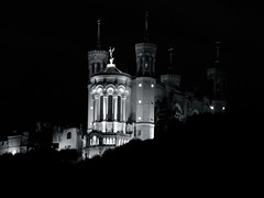 Notre-Dame de Fourvière at Night (K.G.Hawes) Tags: light blackandwhite white holiday black france reflection church water night reflections river dark de french lights evening la exposure day catholic cathedral lyon fireworks francaise basilica 14 creative commons patriotic firework notredame celebration cc nighttime national le fete creativecommons fête notre dame patriotism juillet bastille français pièce feu dartifice artifice francais lyons fleuve basilique fourviere feux feudartifice nationale fourvière saône lyonnaise saone française lyonnais lafetenationale quatorze notredamedefourviere