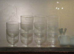 Bistro vignette through frosted glass (Monceau) Tags: cup glass glasses bistro vague vignette frosted flatware shadowy