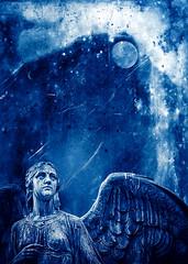 An angel in blue and white (radonracer) Tags: blue moon angel mond frieden fantasy engel blau radonart