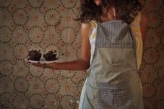 Cupcake Girl (Nourhan Refaat) Tags: food brown selfportrait sexy texture kitchen girl self vintage dark baking scary nikon chocolate feminine creepy apron cupcake flies dslr brownhair rottenfood chocolatecupcakes brownwig wallpapertexture nikond5000 foodaffair