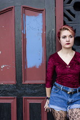 Audrey Sanchez (Kyra Rosa Photographer) Tags: red urban stockings fashion socks hair spiky model rocks punk downtown dress cross heart boots florida vibrant garage grunge clarity crosses fishnet velvet pizza jeans audrey jacket heels editorial jacksonville shorts lipstick spikey redhair pantyhose checkered spikes checker vinyls 90s studs sanchez kneehighs wedges spikyhair highwaisted poppunk fohawk fashioneditorial bandtee audreysanchez 90sgrunge