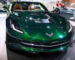 Green Sting Ray Front End (Lorne Thomas) Tags: california cars car losangeles nikon downtown stingray chevy corvette carshow downtownlosangeles nikkor2870f28 nikon2870f28 nikond800e
